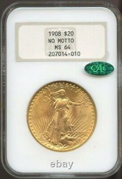 1908 No Motto $20 Gold St. Gaudens Double Eagle MS 64 CAC NGC, Old FATTY NGC