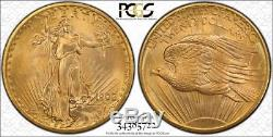 1908 No Motto $20 ST. GAUDENS GOLD PCGS MS 67 WELLS FARGO DOUBLE EAGLE