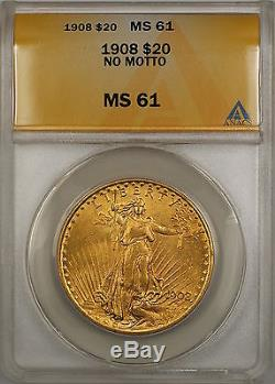 1908 No Motto $20 St. Gaudens Double Eagle Gold Coin ANACS MS-61 SB