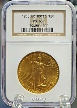 1908 No Motto $20 St. Gaudens Double Eagle Gold Coin NGC 63