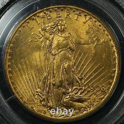 1908 No Motto $20 Twenty Dollar St Gaudens Gold Double Eagle OGH PCGS MS 63