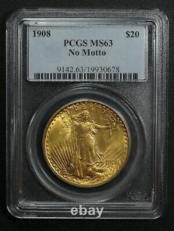 1908 No Motto $20 Twenty Dollar St Gaudens Gold Double Eagle PCGS MS 63