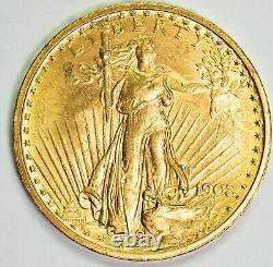 1908 No Motto BU $20 Saint Gaudens Gold Double Eagle Item#T12150