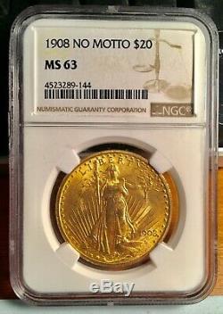 1908 No Motto Gold $20 Saint Gaudens Double Eagle Coin NGC MS63