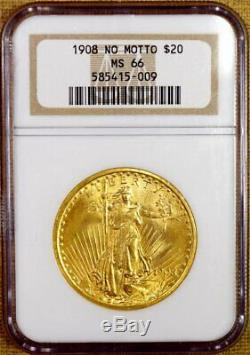 1908 No Motto NGC MS66 $20 Saint Gaudens Gold Double Eagle