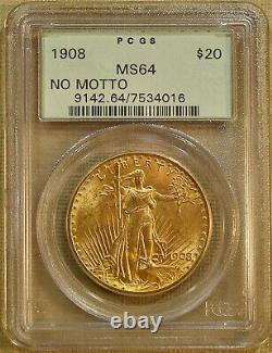 1908 No Motto PCGS MS64 $20 Saint Gaudens Gold Double Eagle Old Green Holder