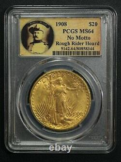 1908 No Motto Rough Rider Hoard $20 St Gaudens Gold Double Eagle PCGS MS 64