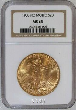1908 No Motto Saint-Gaudens $20 Dollar Gold Double Eagle Certified NGC MS-63