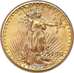 1908 No Motto Saint Gaudens $20 Double Eagle Gold Coin Wells Fargo NGC MS67