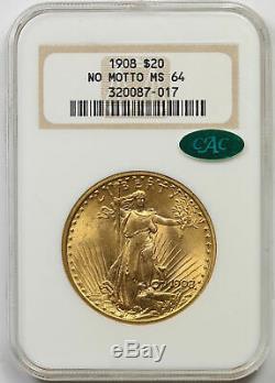 1908 No Motto Saint Gaudens Double Eagle Gold $20 MS 64 NGC CAC