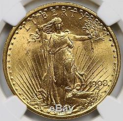 1908 No Motto Saint Gaudens Double Eagle Gold $20 MS 64+ Plus NGC