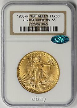 1908 No Motto Saint Gaudens Double Eagle Gold $20 MS 65 NGC CAC Wells Fargo NV