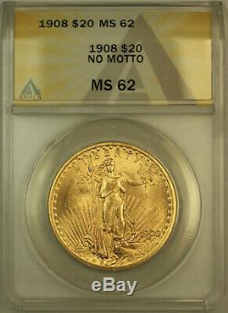 1908 No Motto St. Gaudens $20 Double Eagle Gold Coin ANACS MS-62