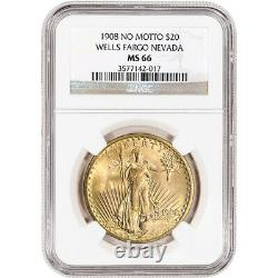 1908 No Motto US Gold $20 Saint-Gaudens Double Eagle NGC MS66 Wells Fargo Nev