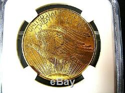 1908 P $20 1 ounce No Motto Gold St. Gaudens Double Eagle NGC Ms 66