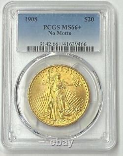 1908-P $20 Saint Gaudens Gold Double Eagle No Motto Pre 33 PCGS MS66+ Super Gem