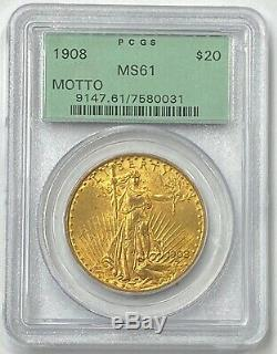 1908-P $20 Saint Gaudens Gold Double Eagle PCGS MS61 (With Motto) OGH PQ++