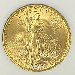 1908-P $20 Saint Gaudens N/M Gold Double Eagle Pre-33 NGC MS65 Wells Fargo Hoard