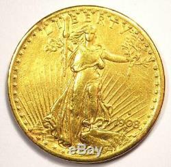 1908-S Saint Gaudens Gold Double Eagle $20 Coin AU Details Rare Date