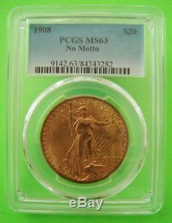 1908 ST. GAUDENS $20 GOLD PCGS MS63 DOUBLE EAGLE'NO MOTTO' Brilliant Gold Coin