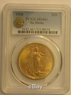 1908 ST. GAUDENS NO MOTTO $20 DOUBLE EAGLE PCGS RARE MS 66+ PQ Approved