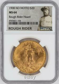 1908 Saint Gaudens $20 Gold Double Eagle NGC MS64 Rough Rider Hoard #CJS0010
