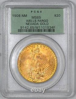 1908 Saint Gaudens Gold Double Eagle NM $20 PCGS MS65 Wells Fargo Hoard OGH
