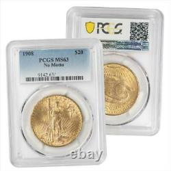 1908 St. Gaudens $20 Gold Double Eagle PCGS MS63 No Motto Variety