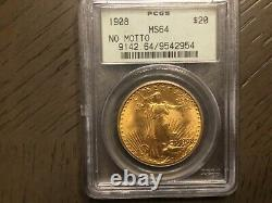 1908 St. Gaudens No Motto Gold Coin $20 Ms 64 Pcgs