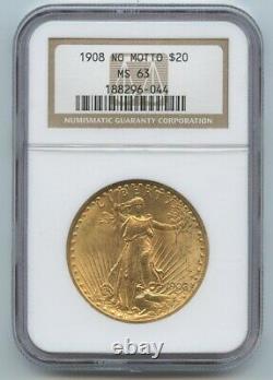 1908 Twenty Dollar $20 Saint Gaudens Double Eagle NO MOTTO NGC MS 63