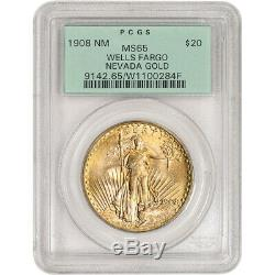 1908 US Gold $20 Saint-Gaudens Double Eagle No Motto PCGS MS65 Wells Fargo
