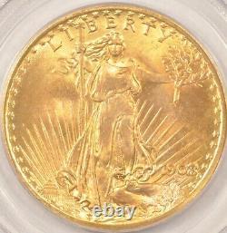 1908 Wells Fargo No Motto $20 Saint Gaudens Gold Double Eagle Coin PCGS MS66