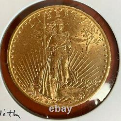 1908-d $20.00 Saint- Gaudens Double Eagle Gold With Motto Coin