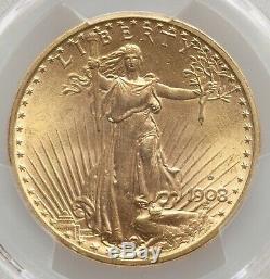 1908-d $20 Saint Gaudens Gold Double Eagle With Motto PCGS MS64! 39245758
