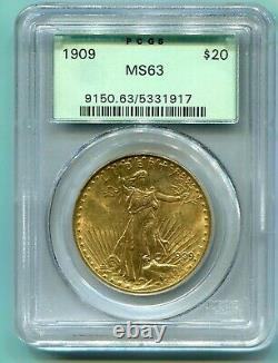 1909 (1909-P) $20 ST GAUDENS Double Eagle PCGS MS63 SAINT OLD GREEN HOLDER OGH