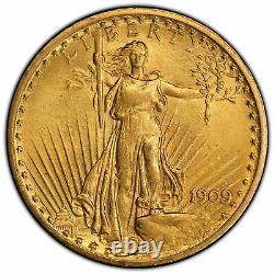 1909/8 US $20 Saint Gaudens Gold Double Eagle PCGS Graded MS62 (41070055)