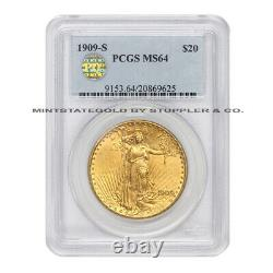 1909-S $20 Gold Saint Gaudens PCGS MS64 PQ Approved Double Eagle San Francisco
