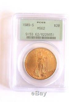 1909-S $20 Saint Gaudens Double Eagle Gold Coin PCGS MS62
