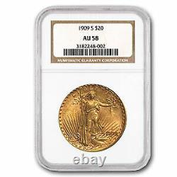 1909-S $20 Saint-Gaudens Gold Double Eagle AU-58 NGC SKU#43997