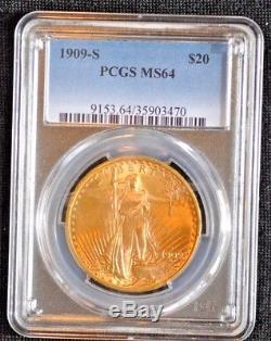 1909-S $20 Saint Gaudens Gold Double Eagle PCGS Graded MS64 470
