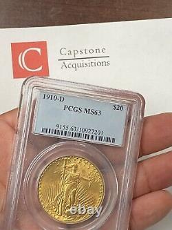 1910-D $20 Saint Gaudens Gold Double Eagle Pre-1933 PCGS MS63 Overlooked Rarity