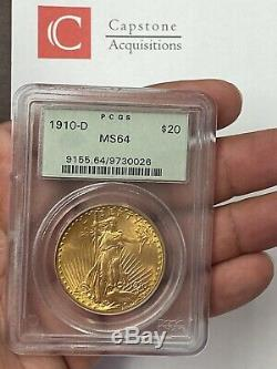 1910-D $20 Saint Gaudens Gold Double Eagle Pre-33 PCGS MS64 Old Green Holder PQ+