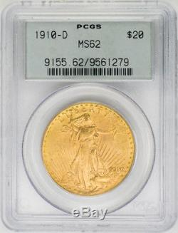 1910-D $20 St. Gaudens, Double Eagle PCGS MS62 Old Holder US Rare Coin