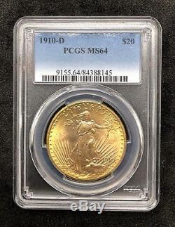 1910-D St Gaudens $20 Double Eagle PCGS MS64