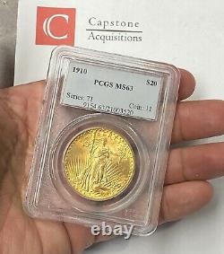 1910-P $20 Saint Gaudens Gold Double Eagle Pre-33 PCGS MS63 Fresh Old Holder