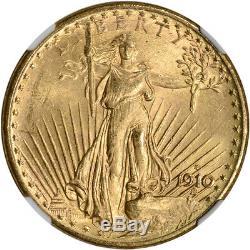 1910-S US Gold $20 Saint-Gaudens Double Eagle NGC MS63