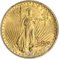 1910 US Gold $20 Saint-Gaudens Double Eagle PCGS MS62