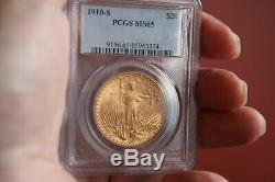 1910S Double Eagle Gold $20 St. Gaudens pcgs MS-65