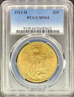 1911-D $20 American Gold Double Eagle Saint Gaudens MS64 PCGS MINT Key Date Coin