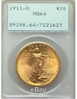 1911-D $20 GOLD PCGS MS64 OGH RATTLER St. GAUDENS DOUBLE Eagle Dollar